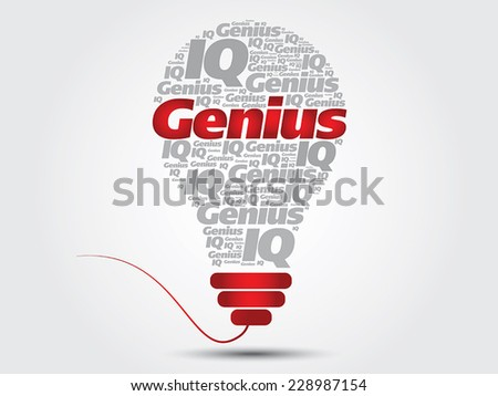 Genius info-text graphics and arrangement bulb concept on gray background, word cloud - stock vector