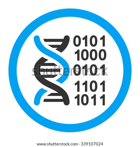 Genome Code vector icon. Style is bicolor flat rounded symbol, blue and gray colors, rounded angles, white background.