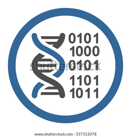 Genome Code vector icon. Style is bicolor flat rounded symbol, cobalt and gray colors, rounded angles, white background.