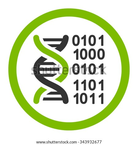 Genome Code vector icon. Style is bicolor flat rounded symbol, eco green and gray colors, rounded angles, white background.