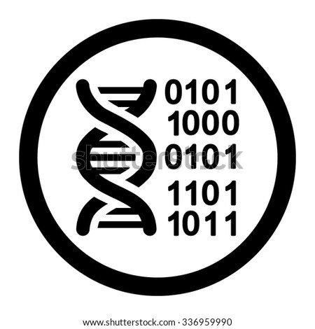 Genome Code vector icon. Style is flat rounded symbol, black color, rounded angles, white background.