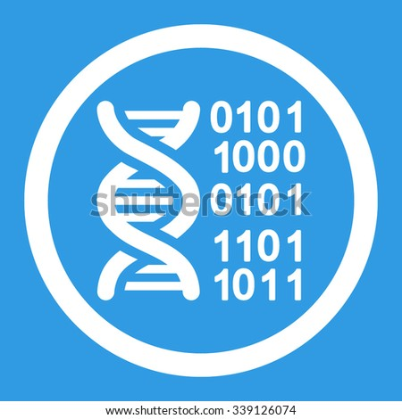 Genome Code vector icon. Style is flat rounded symbol, white color, rounded angles, blue background.