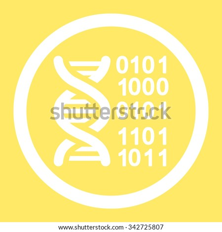 Genome Code vector icon. Style is flat rounded symbol, white color, rounded angles, yellow background.