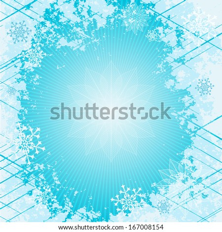 Gentle blue christmas frame with rays and snowflakes (vector eps 10) - stock vector