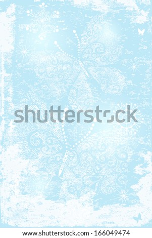 Gentle blue Christmas grungy background with lacy butterflies and snowflakes (vector EPS 10) - stock vector