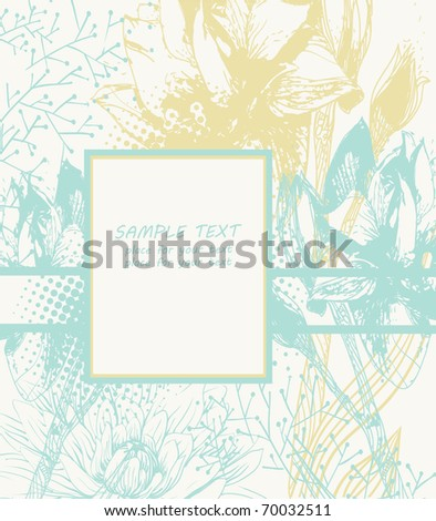 gentle floral background with hand drawn flowers and plants - stock vector