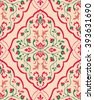 Gentle, floral ornament. Template for oriental carpets, textiles, wallpaper, shawl and any surface. Seamless vector pattern of pink and green colors on a beige background. - stock vector