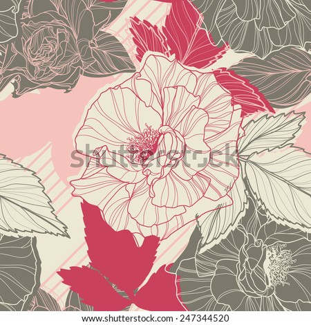 Gentle floral seamless pattern with handdrawn roses. Vintage style. - stock vector