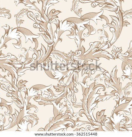 Gentle flower vintage vector baroque seamless pattern with swirls, natural wallpaper, floral curl vector illustration - stock vector