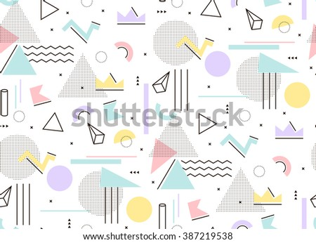 Gentle light pattern of geometric shapes Memphis style. Mint and pink triangles, hipster style to build. - stock vector