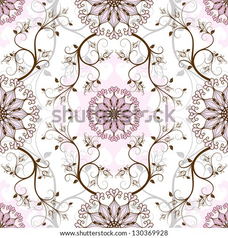 Gentle pastel seamless background with round pink-blue flowers (vector) - stock vector