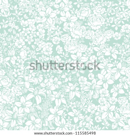 Gentle seamless pattern with flowers - stock vector