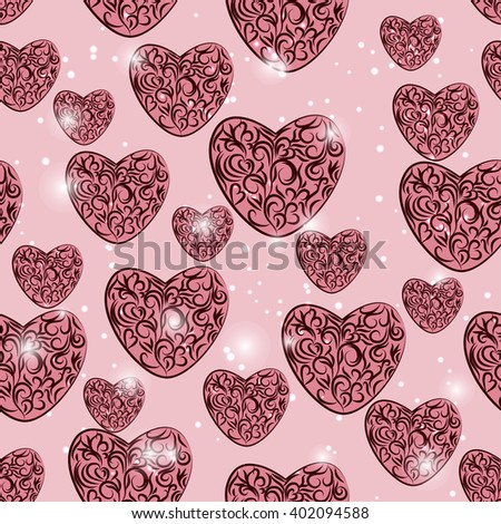 gentle seamless pattern with hearts for your design - stock vector