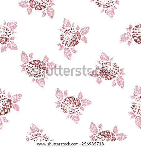 gentle seamless pattern with pink flowers graphic on a white background