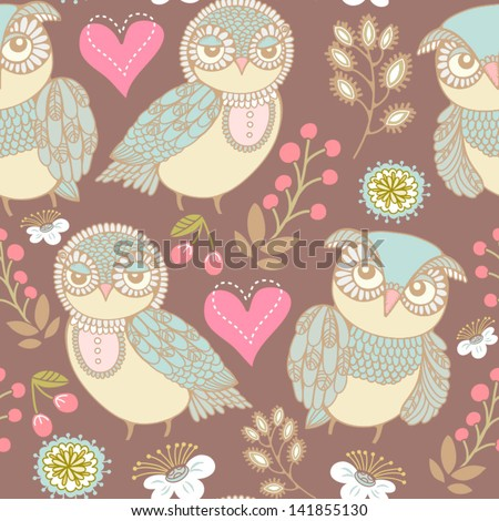 Gentle seamless texture with owls and flowers. Seamless pattern can be used for wallpaper, pattern fills, web page background,surface textures. Gorgeous seamless floral background. - stock vector