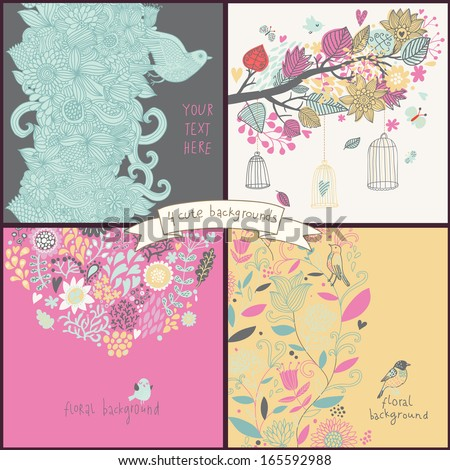 Gentle set with four floral cards with flowers, birds, cages. Summer concept backgrounds in cartoon style. Freedom concept wallpapers in vector - stock vector