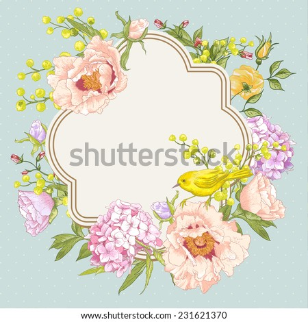 Gentle Spring Floral Bouquet with Birds, Vintage Greeting Card, Frame, Vector illustration. Peonies, Mimosa, Roses, Hydrangea  - stock vector