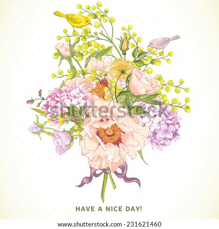 Gentle Spring Floral Bouquet with Birds, Vintage Greeting Card, Vector illustration. Peonies, Mimosa, Roses, Hydrangea