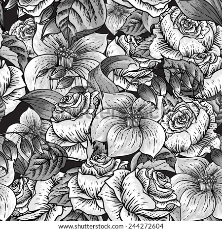 Gentle Spring monochrome Seamless Floral Botanical Pattern with Roses and Wildflowers  - stock vector