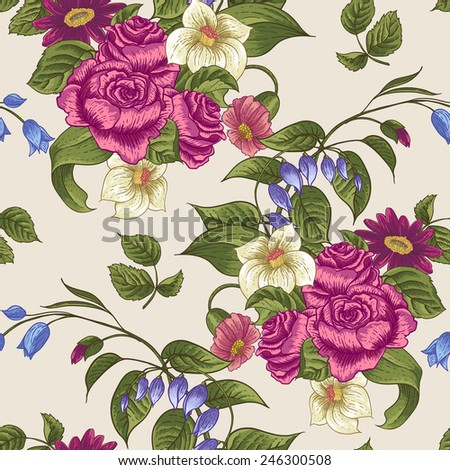 Gentle Spring Seamless Floral Pattern with Roses and Wildflowers  - stock vector