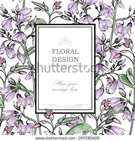 Gentle spring watercolor greeting card with Blooming flowers. Floral background with place for text.  Vector Illustration - stock vector