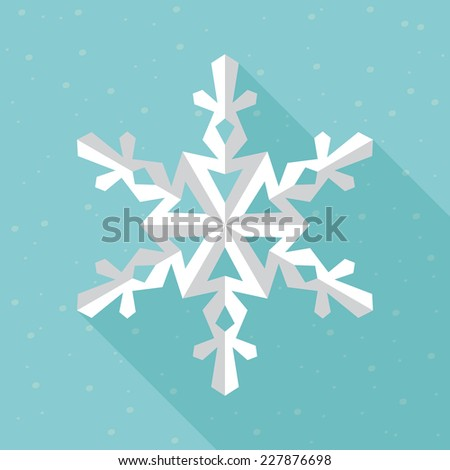 Gentle white snowflake. Festive and celebration concept. Flat icon design. - stock vector