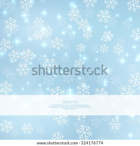 Gentle winter abstract background with falling scatter snowflakes, ice crystals and sparkles. Elegant backdrop for festive decoration. - stock vector