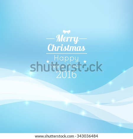Gentle winter abstract background with falling scatter snowflakes, ice crystals and sparkles. Vector design. Lettering Inscription New Year and Merry Christmas. 2016 - stock vector
