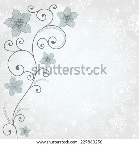 Gentle winter background with snowflakes and floral pattern (vector eps 10) - stock vector