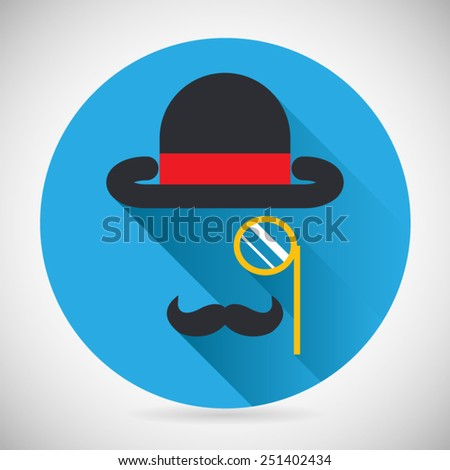 Gentleman Accessories Symbol Bowler Hat and Monocle Mustache Silhouette Icon Stylish Background Modern Flat Design Vector Illustration - stock vector