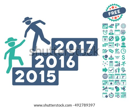 Gentleman Annual Help pictograph with bonus calendar and time management symbols. Vector illustration style is flat iconic bicolor symbols, cobalt and cyan colors, white background.