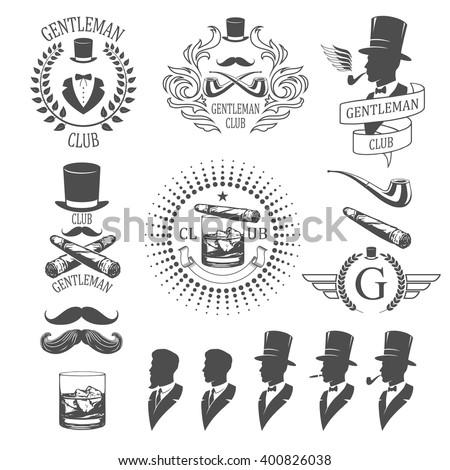 Gentleman emblems set - stock vector