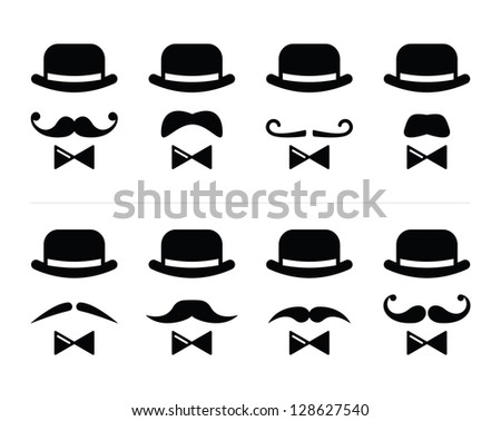 Gentleman icon - man with moustache and bow tie set - stock vector