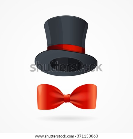 Gentleman Man Sign. Bow Tie and Hat. Vector illustration - stock vector
