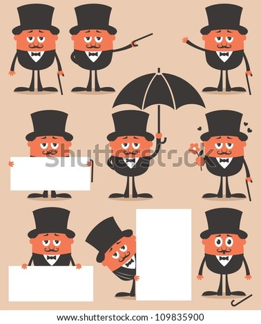 Gentleman: Retro gentleman in different situations. No transparency and gradients used. - stock vector