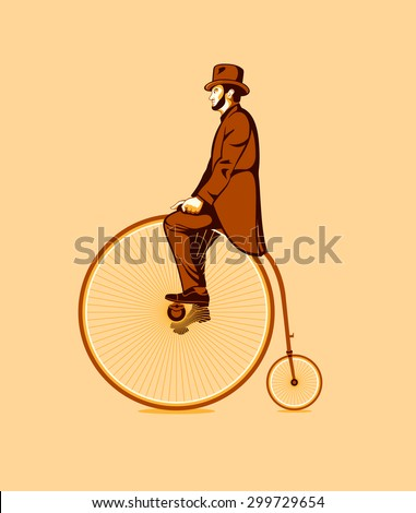 Gentleman riding a retro penny farthing bicycle - stock vector