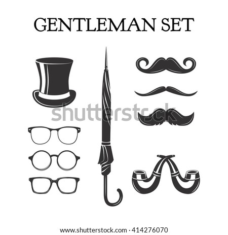 Gentleman set. Mustache set. Glasses. Pipe smoke glasses eye. eyeglasses. Top hat. Umbrella. Pipe smoking. happy father day. - stock vector