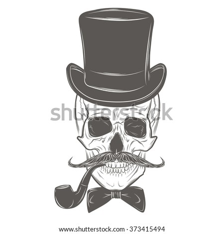 Gentleman skull with mustache, bow tie, top hat and smoking pipe. Skull print, skull illustration  isolated on white background. Vector mode - stock vector