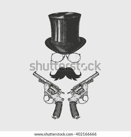 gentleman moustaches glasses top hat revolvers ベクター画像素材