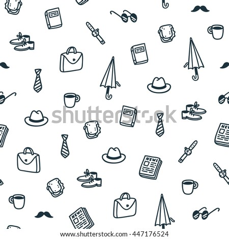 Gentlemans lunch time seamless pattern