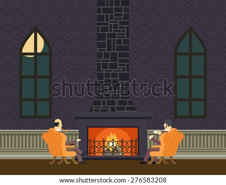Gentlemen at Fireplace Evening Room Hall Discussing Business Concept Icon Background Flat Design Vector Illustration - stock vector