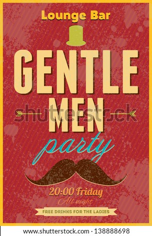 Gentlemen Party. Typography vector poster. - stock vector