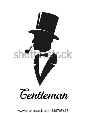 Gentlemen silhouette. Logo style. Monochrome, isolated on white background - stock vector
