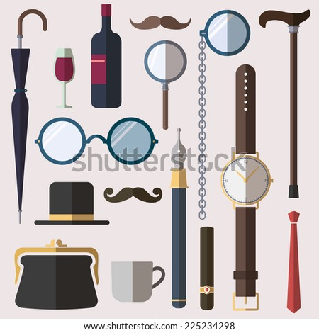Gentlemen vintage stuff design elements set - stock vector