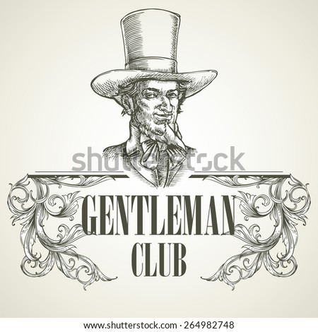 Gentlemens club. Vintage vector illustration EPS 10 - stock vector