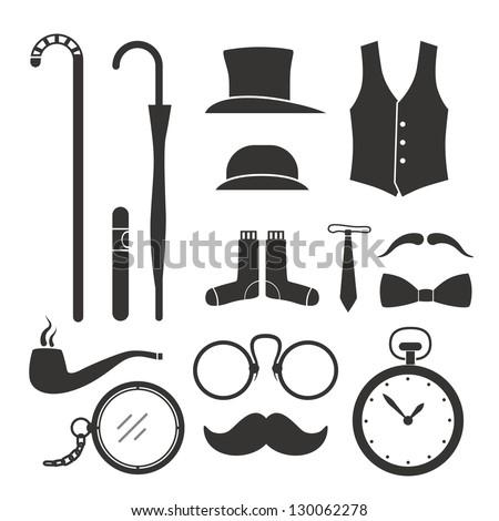 Gentlemens vintage stuff design elements collection - stock vector