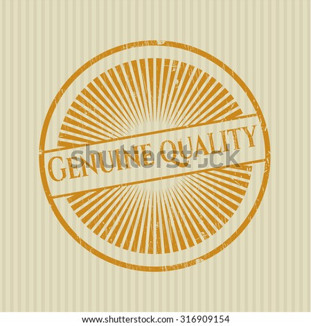 Genuine Quality rubber grunge stamp - stock vector