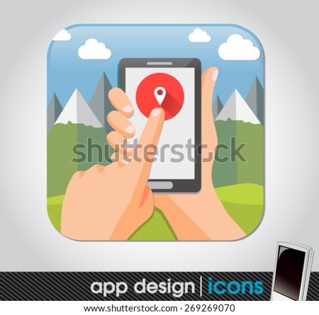 geo location app for mobile devices - stock vector
