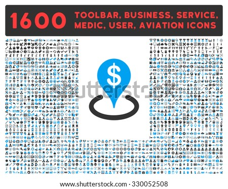 Geo Targeting vector icon and 1600 other business, service tools, medical care, software toolbar, web interface pictograms. Style is bicolor flat symbols, blue and gray colors, rounded angles, white - stock vector