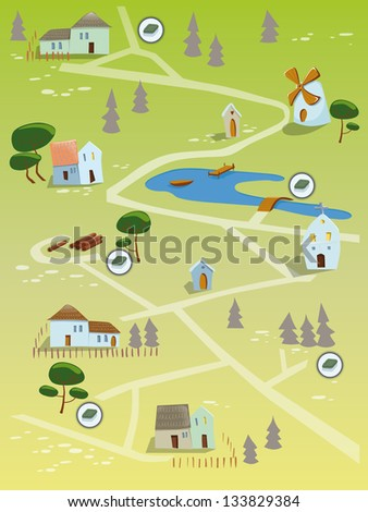 Geocaching map - stock vector